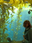 Claire with the kelp forest at the aquarium