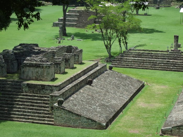 "A view of the Mayan ""football"" pitch"