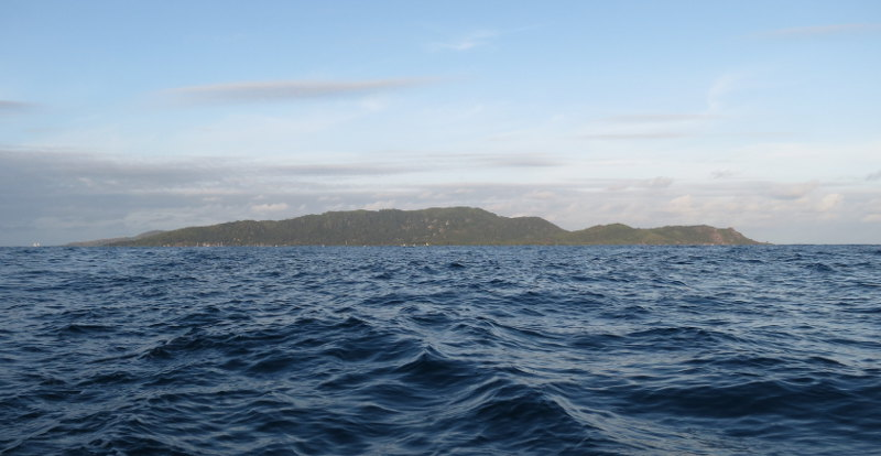 Tiny La Digue (only 10 km2) viewed from the boat